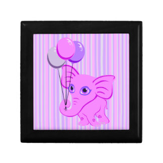 Cute Pink Baby Elephant Holding Shiny Balloons Jewelry Boxes