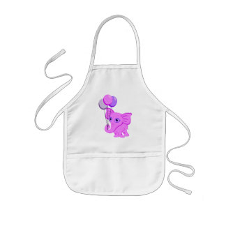 Cute Pink Baby Elephant Holding Shiny Balloons Kids' Apron
