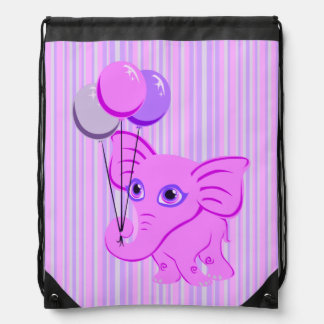 Cute Pink Baby Elephant Holding Shiny Balloons Drawstring Bag