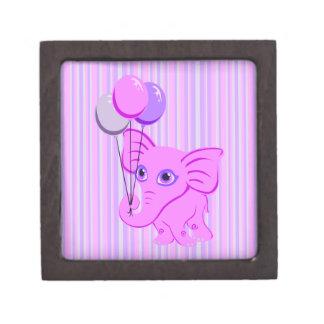 Cute Pink Baby Elephant Holding Shiny Balloons Premium Keepsake Box