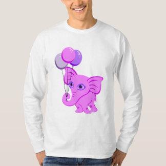 Cute Pink Baby Elephant Holding Shiny Balloons T-Shirt