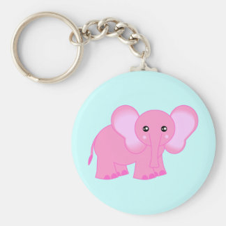 Cute Pink Baby Elephant Basic Round Button Keychain
