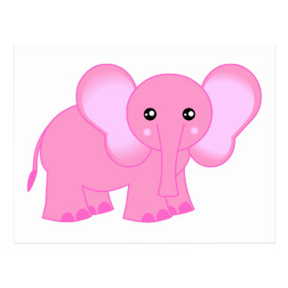 Cute Pink Baby Elephant Postcard