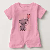 Cute Pink Baby Elephant Romper