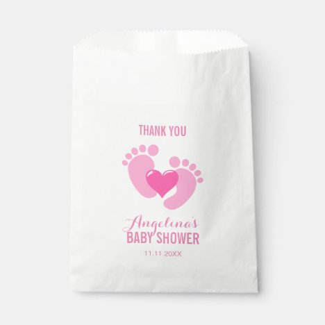 Cute Pink BABY FEET Heart Girl Baby Shower Favor Bag