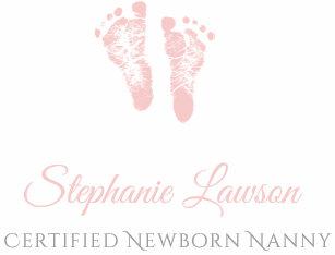cute pink baby footprints certified newborn nanny business card