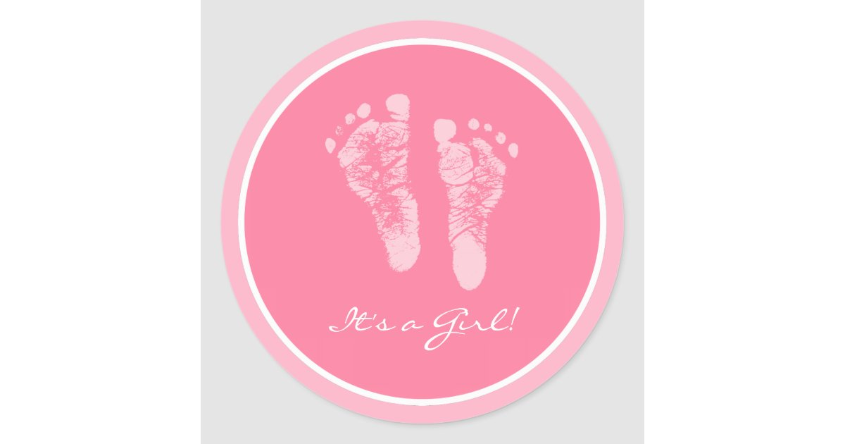 Cute Pink Baby Footprints Its A Girl Baby Shower Classic Round