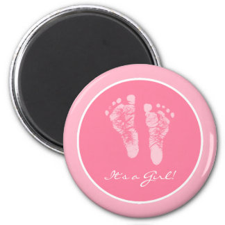 Cute Pink Baby Footprints Its a Girl Baby Shower Magnet