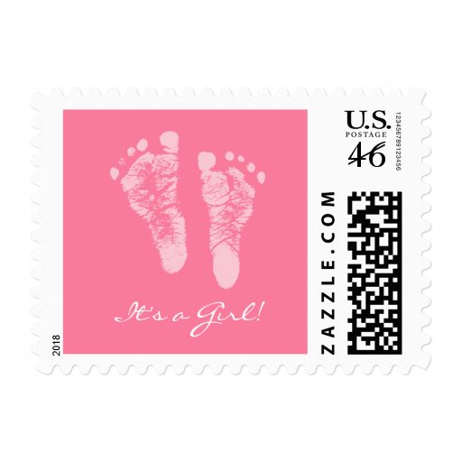 Cute Pink Baby Footprints Its a Girl Baby Shower Postage Stamp