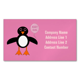 Cute Pink Baby Gir Penguin Magnetic Business Cards