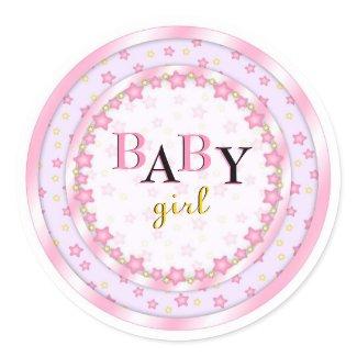 Cute Pink Baby Girl Baby Shower Seals Round Stickers