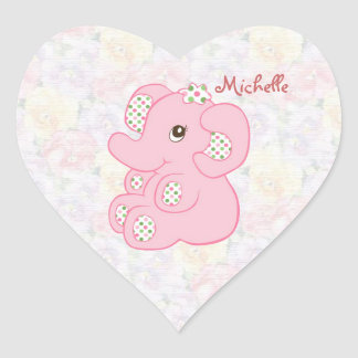 Cute pink baby girl elephant Sticker
