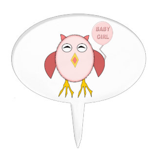 Cute Pink Baby Girl Owl Cake Pick