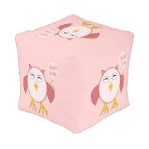 Cute Pink Baby Girl Owl Cube Pouf