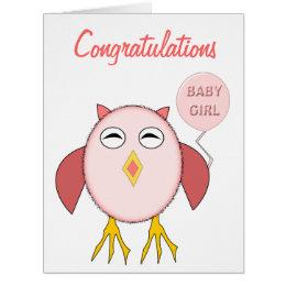 Cute Pink Baby Girl Owl Custom Card