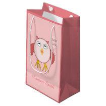 Cute Pink Baby Girl Owl Custom Gift Bag