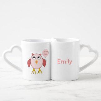Cute Pink Baby Girl Owl Customizable Mugs