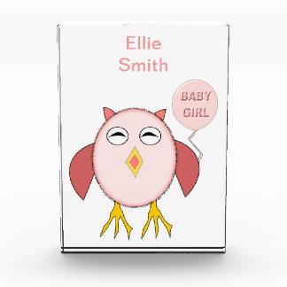 Cute Pink Baby Girl Owl Decoration Award