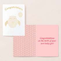 Cute Pink Baby Girl Owl Foil Card
