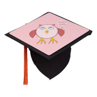 Cute Pink Baby Girl Owl Graduation Topper