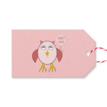 Cute Pink Baby Girl Owl Personalized Gift Tags