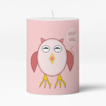 Cute Pink Baby Girl Owl Pillar Candle