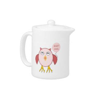 Cute Pink Baby Girl Owl Teapot