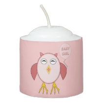 Cute Pink Baby Girl Owl Votive Candle