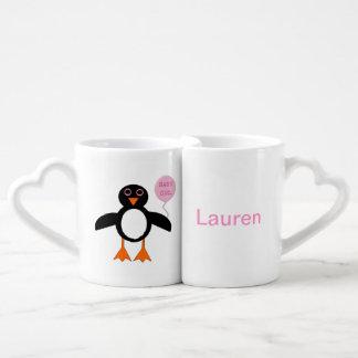 Cute Pink Baby Girl Pemguin Customizable Mugs
