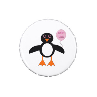 Cute Pink Baby Girl Penguin Candy Tins