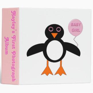 Cute Pink Baby Girl Penguin Custom Photo album Vinyl Binders