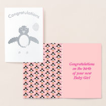 Cute Pink Baby Girl Penguin Foil Card
