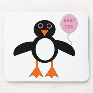 Cute Pink Baby Girl Penguin Mousepad