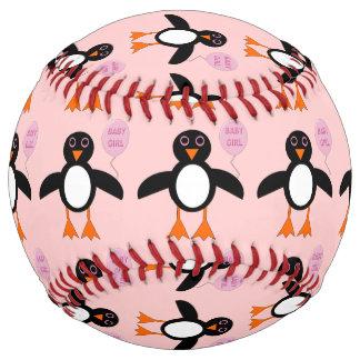 Cute Pink Baby Girl Penguin Softball