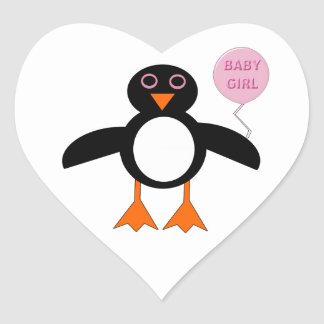 Cute Pink Baby Girl Penguin Stickers