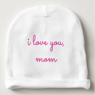 Cute Pink Baby Hat Infant Beanie I Love You Mom