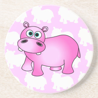 Cute Pink Baby Hippo Coaster