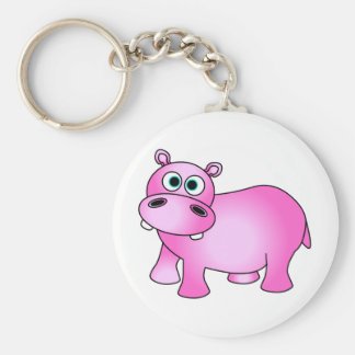 Cute Pink Baby Hippo Keychain