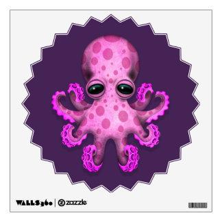 Cute Pink Baby Octopus on Purple Wall Sticker