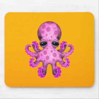 Cute Pink Baby Octopus on Yellow Mouse Pad