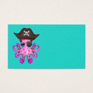 Cute Pink Baby Octopus Pirate Business Card