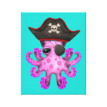 Cute Pink Baby Octopus Pirate Canvas Print