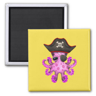 Cute Pink Baby Octopus Pirate Magnet