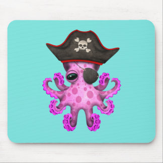 Cute Pink Baby Octopus Pirate Mouse Pad