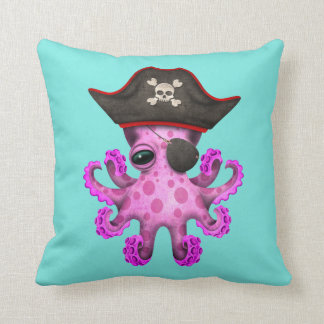 Cute Pink Baby Octopus Pirate Throw Pillow