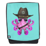 Cute Pink Baby Octopus Sheriff Backpack