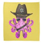 Cute Pink Baby Octopus Sheriff Bandana