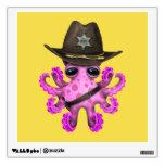 Cute Pink Baby Octopus Sheriff Wall Sticker
