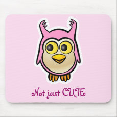 Cute Pink Baby Owl Cartoon Mouse Pad