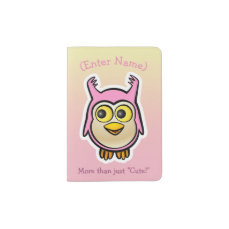 Cute Pink Baby Owl Cartoon Passport Holder